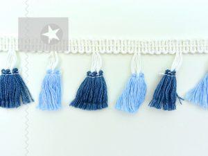 Quastenborte Troddelborte blau jeansblau