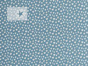 Jersey Stoff Herzchen blau cremeweiß