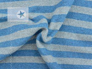 Feiner Strickstoff Streifen jeansblau grau