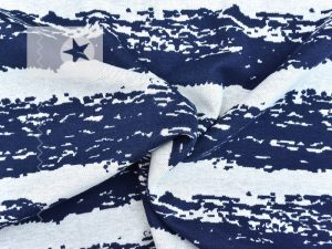 Jacquard Strick Baumwolle Streifen blau grau