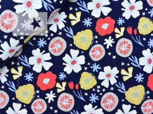 Jersey Stoff Blumen dunkelblau