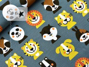 Jersey Stoff Löwe Tiger Panda Fuchs