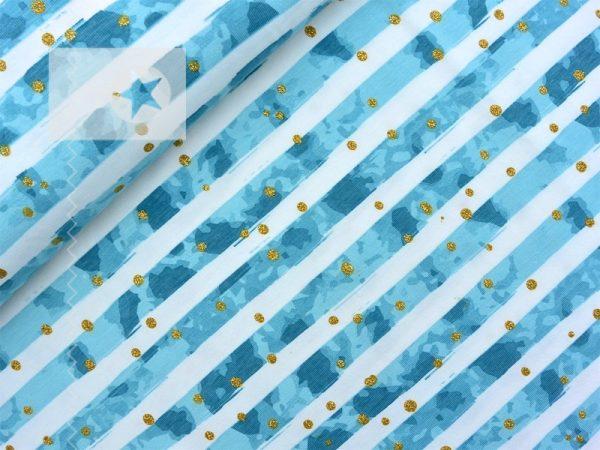Jersey Stoff Streifen Punkte aqua gold