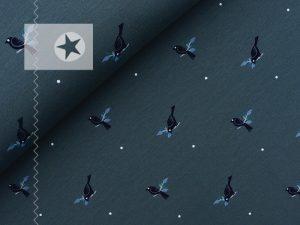 Sweatstoff angeraut Vögel graublau