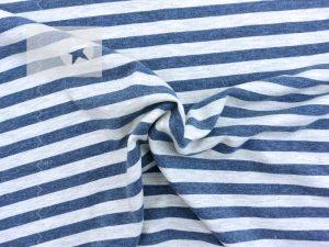 Jersey Streifen jeansblau greige