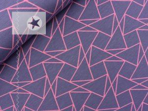 Jersey Stoff grafische Muster Dreiecke mauve