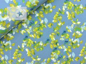 Jersey Stoff Blätter dusty blue zitrone
