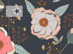Baumwolle Stoff Blumen grau kupfer
