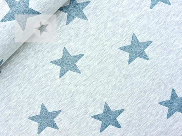Jersey Stoff Glitzer Sterne