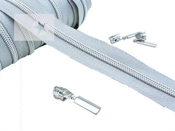 Endlos Reißverschluss metallisiert silber