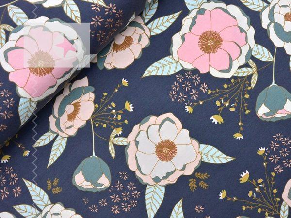 Jersey Stoff Blumen graublau kupfer