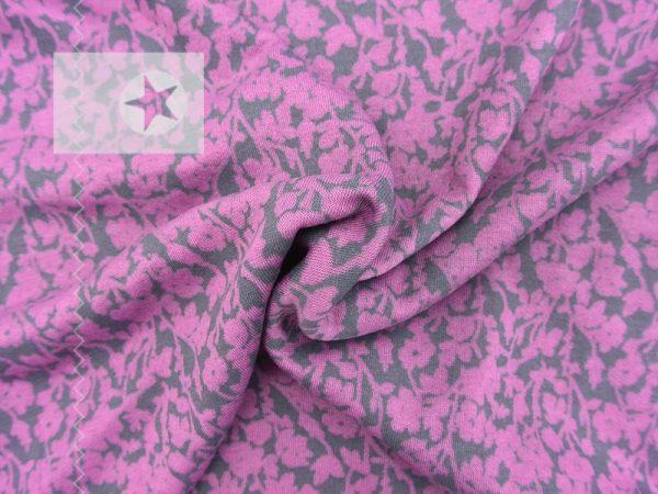Strickstoff Leinen Viskose Blumen grau rosa