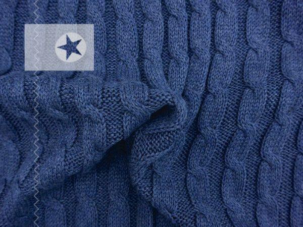 Zopfstrick Stoff Baumwolle jeansblau