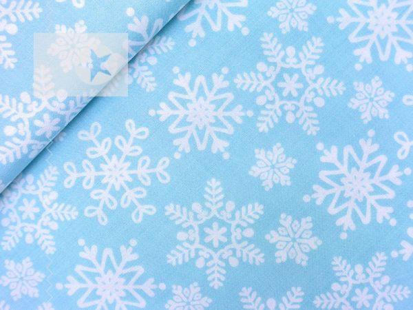 Baumwollstoff Schneeflocke Eisblume eisblau