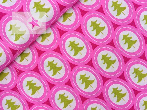 Baumwollstoff Tannenbaum pink hellgrün