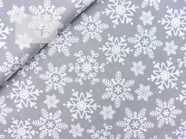 Baumwollstoff Schneeflocke Eisblume hellgrau