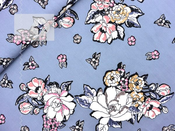 Viskose Twill Blumen taubenblau rosa