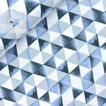 Sweatstoff angeraut Dreiecke blau weiß