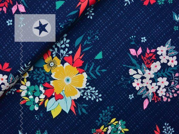 Baumwolle Stoff Blumen blau gelb