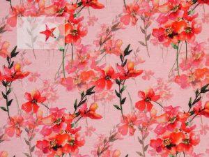 Jersey Stoff Jonne mit Blumenmuster rot