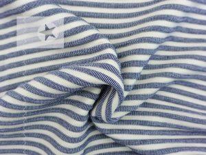 Sommerstrick Strickstoff Streifen blau beige