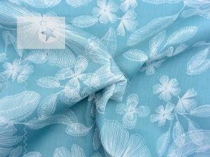 Baumwoll Satin Blumen aqua