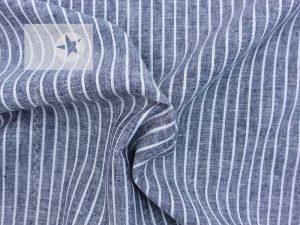 Baumwollstoff Jeansoptik Streifen schwarzblau weiß