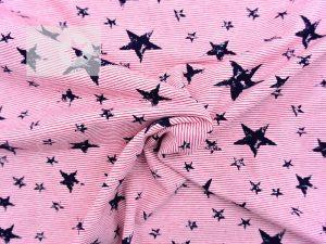 Baumwoll Jersey Streifen rot Sterne dunkelblau