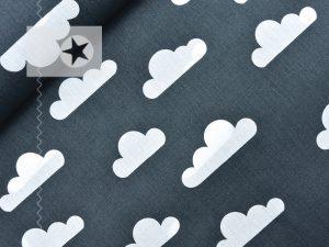 Baumwollstoff mit Wolken dunkelgrau weiß