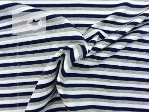 Jersey Streifen dunkelblau grau weiß