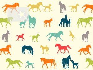 Baumwollstoff birch fabrics Pferde bunt