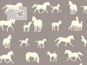 Baumwollstoff birch fabrics Pferde schlamm