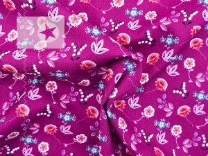 Baumwollstoff mit Blumen pink beere