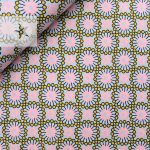 Baumwollstoff mit Ornamenten rosa senf