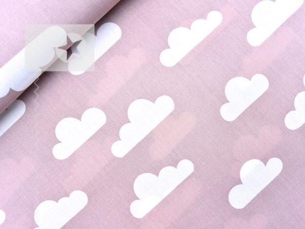 Baumwollstoff mit Wolken altrosa weiß