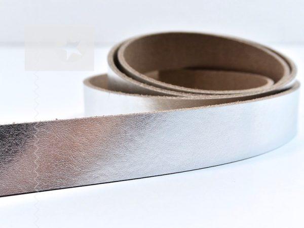 1 Metallic Lederriemen 2,5 cm silber