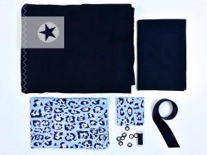 Stoffpaket Hoodie im Leo Look blau