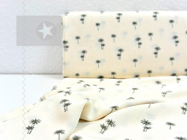 Viskose Stoff Palmen cremeweiß