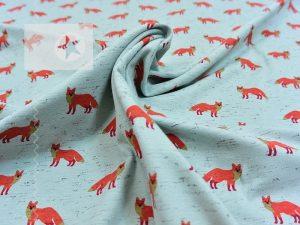 Baumwoll Jersey Füchse dusty mint