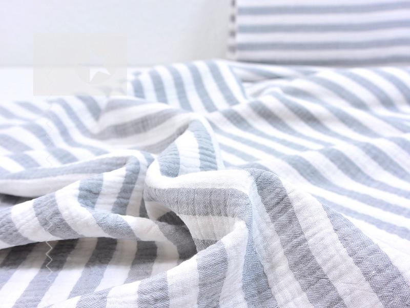 musselin stoff streifen grau wei stoffe online shop. Black Bedroom Furniture Sets. Home Design Ideas
