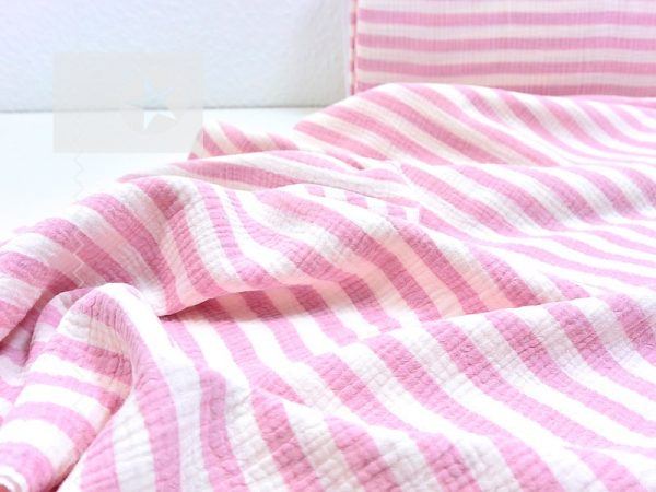 Musselin Stoff Streifen rosa weiß