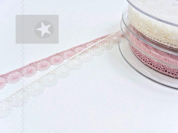 Feine Häkelspitze altrosa und cremeweiß