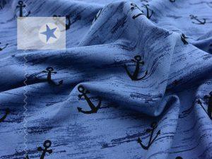 Jersey Stoff Anker blau