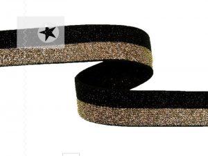 Gummiband 15 mm mit Glitzer schwarz gold