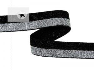 Gummiband 15 mm mit Glitzer schwarz silber