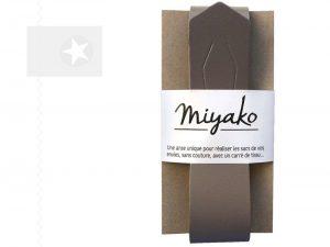 Miyako Taschengriff Furoshiki Leder taupe