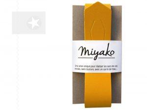 Miyako Taschengriff Furoshiki Leder curry
