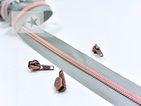 Endlos Reißverschluss metallisiert grau kupfer