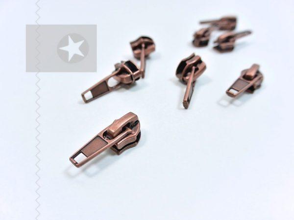 Reißverschluss Schieber metallisiert kupferbraun