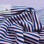 Jersey Streifen jeansblau weiß rot